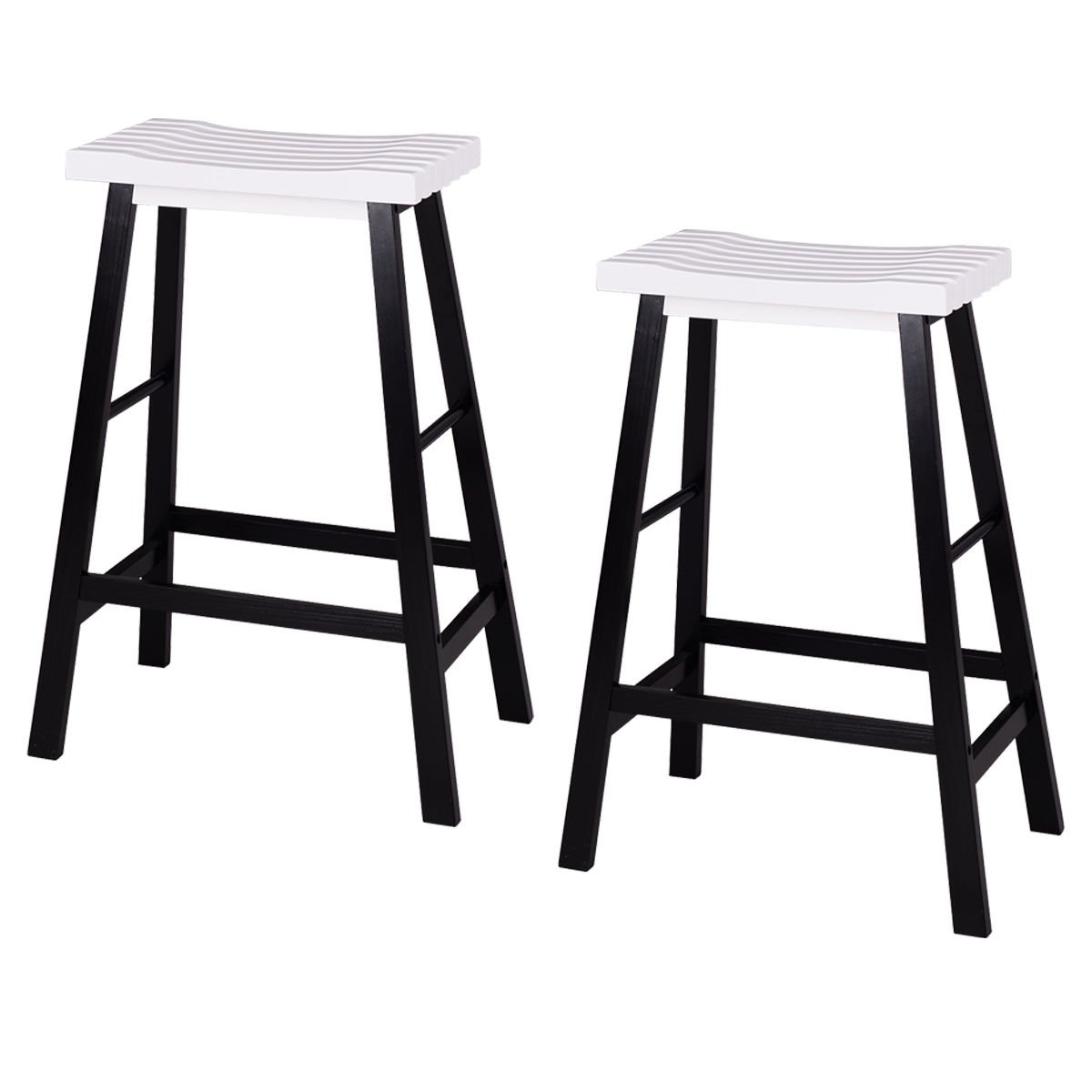 New MTN-G Set of 2 Saddle Seat 29'' Bar Stools Wood Bistro Dining Kitchen Pub Chair White by MTN Gearsmith