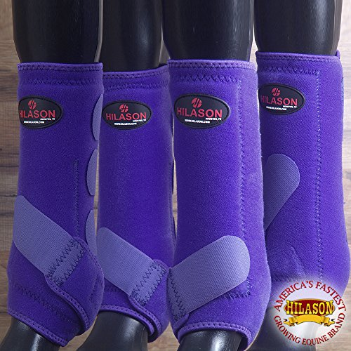 4 PACK LRG HILASON HORSE MEDICINE SPORTS BOOTS FRONT REAR HIND HIND LEG PURPLE by HILASON