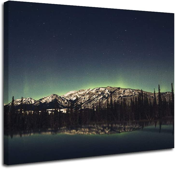 Northern Lights Aurora Borealis Canvas Wall Art-Inner Framed Oil Paintings Printed on Canvas Modern Artwork for Home Decorations and Easy to Hang for Living Room Bedroom-nature, landscape, mountains, night, sky, stars, river Wall Art(16x20 Inch)