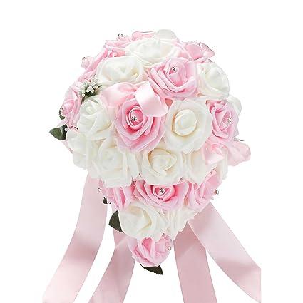Vlovelife Bouquet De Mariee Blanc Et Rose Pale En Satin Roses Artificielles Pailletees Avec Strass Feuille De Vigne Et Ruban De Satin Blanc
