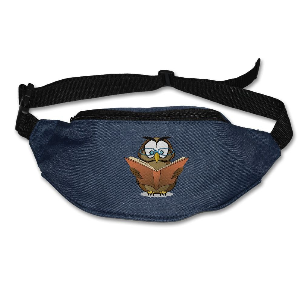 Homlife Waist Purse Glasses Owl with Book Unisex Outdoor Sports Pouch Fitness Runners Waist Bags