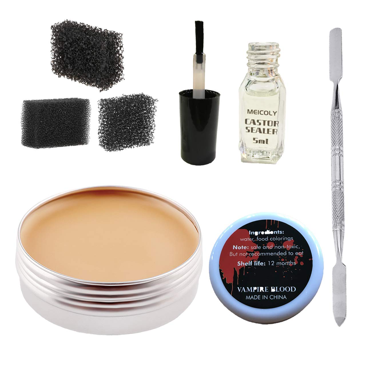 Makeup Skin Wax Special Effects Halloween Set Stage Fake Wound Scar,Moulding Scars Wax with Spatula, Black Stipple Sponge,Coagulated Blood Gel,5ml Castor Sealer,02