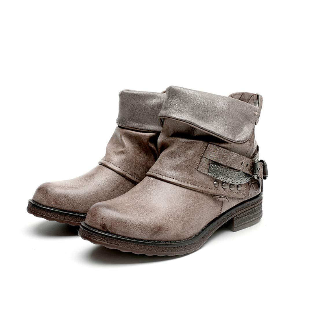 DANDANJIE Damen Reitstiefel Fallen Stiefel Low Heel Round Toe Mitte-Kalb Rivet Stiefel