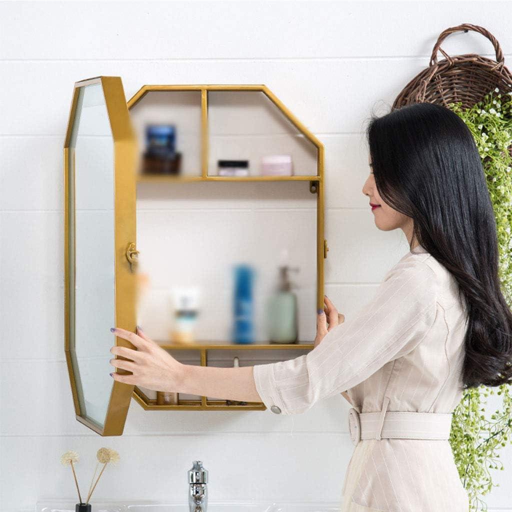 現代のLEDバスルームキャビネットミラー、壁収納キャビネットオクタゴン長方形ミラー、バスルームミラーキャビネット収納キャビネットウッドカラー