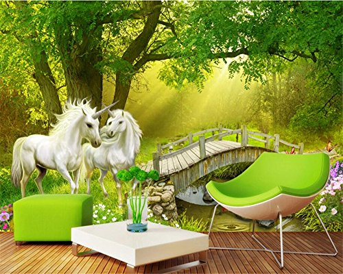 BZDHWWH Custom Wallpaper Mural Forest Unicorn White Horse Nature Tree Wooden Bridge Photo Wall Mural 3D Wall Paper Tapety,170cm (H) x 255cm (W)