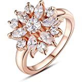 Anillos De Oro Laminado 18K Rose Gold Finger Ring for Women with AAA Cubic Zircon