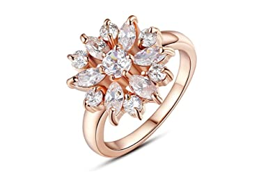 Dixey Luxury Anillos De Oro 18K Rose Gold Plated Finger Ring for Women with AAA Cubic