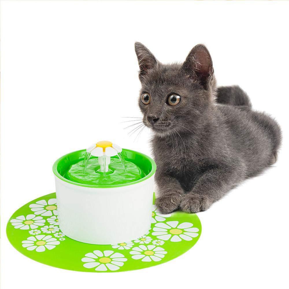 Alimentato Via USB OOOUSE Fontanella per Gatti con 2 Filtri Distributore di acquai per Cani e Gatti Automatiche e Silenzioso 1.6L 1 Fiore e 1 Tappetino in Silicone