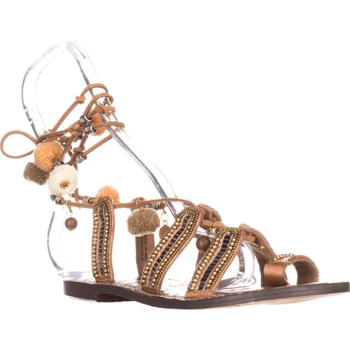 Saddle Leather Sam Edelman Graciela Flat Lace-Up Sandals, Saddle Leather