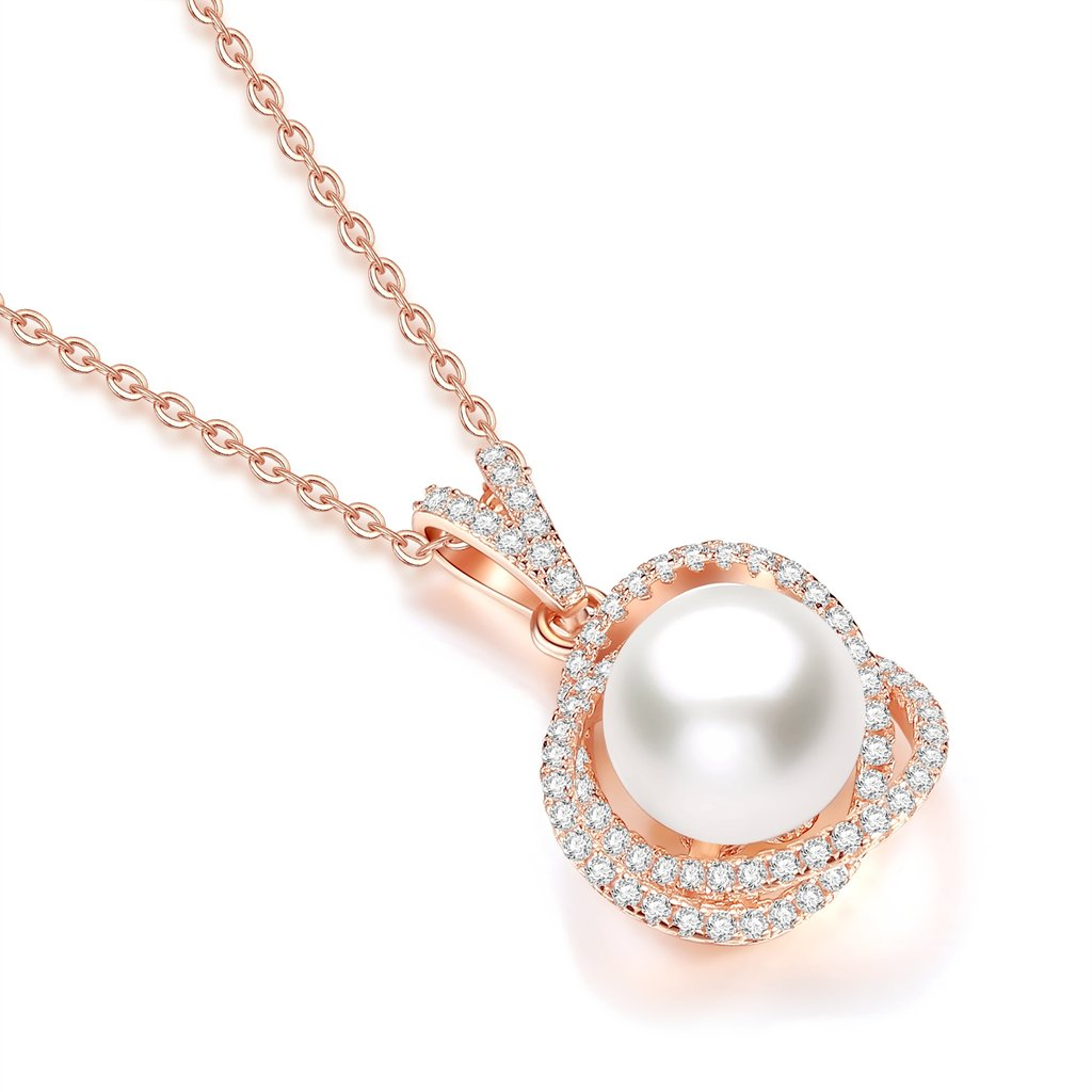 Mothers Day Rose Gold Plated CZ Cubic Zirconia Pearl Pendant Necklace,18\'\'