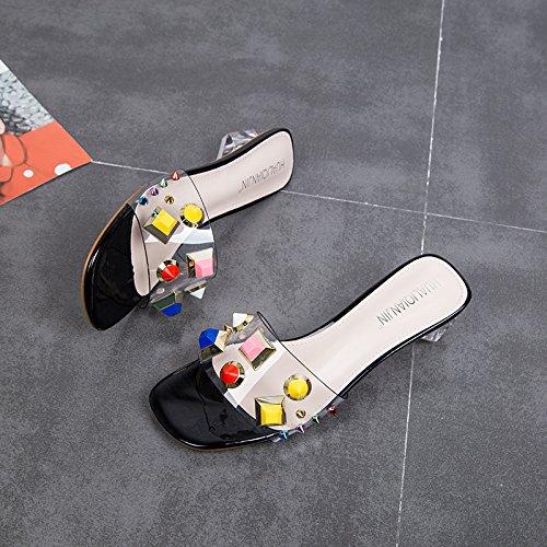 Traspiranti HBDLH Pantofole Drag black Donna Duro 4Cm Tacco Usura donna Tacco Rivet Trasparente comodo Scarpe Crystal da Alto Parola Summer Mezzo Le Bella Tacco prYxqrCwt