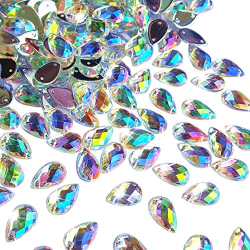 300Pcs 0.31x0.51″ Drop Shape Crystal Yellow Clear Acrylic Sew On Rhinestones Flatback Sewing Stones For Clothes Dress Crafts Garments Accessories (AB)