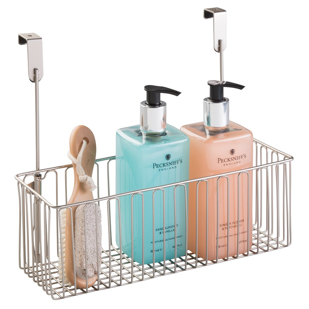 mDesign Metal Over Cabinet Bathroom Storage Organizer Holder Basket - Hang Over Cabinet Doors - Holds Shampoo, Conditioner, Body Wash - Steel Wire - Satin MetroDecor 2784MDBST