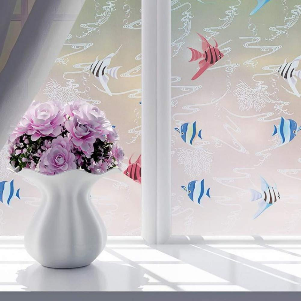 TT& CC Pellicola smerigliata per, Uv rifiuto privacy autoadesivo finestra film decorazione carta vetro adesivo cucina camera da letto bagno ufficio-A 45x200cm(18x79inch)