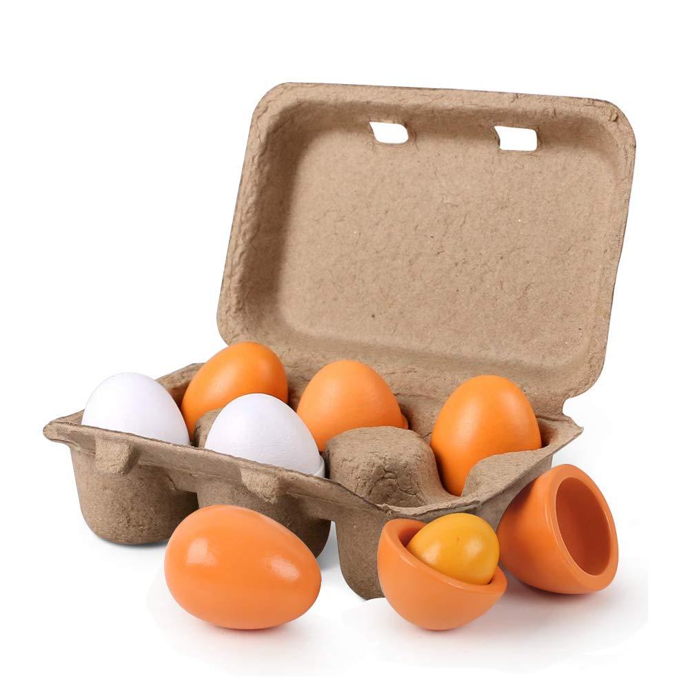 HansGo Wooden Play Eggs, 6PCS Easter eggs Egg Toys for Kids Early Development, Learning, Birthday Gifts