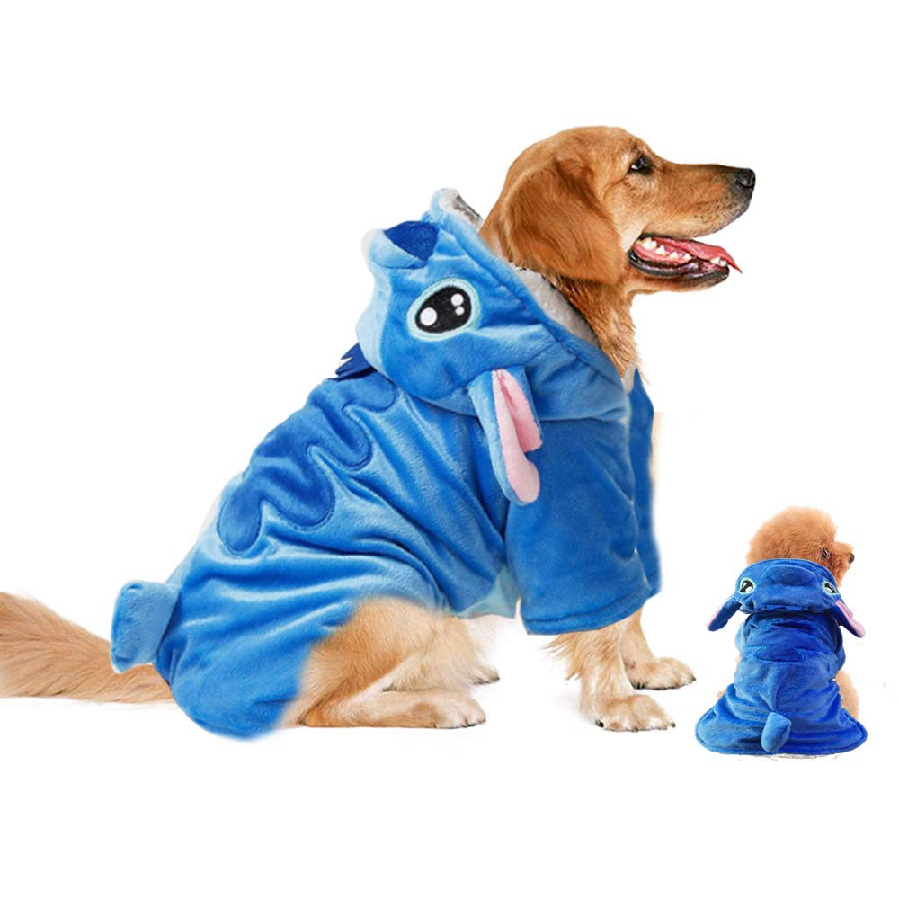 A dog wearing a Lilo and Stitch hoodie