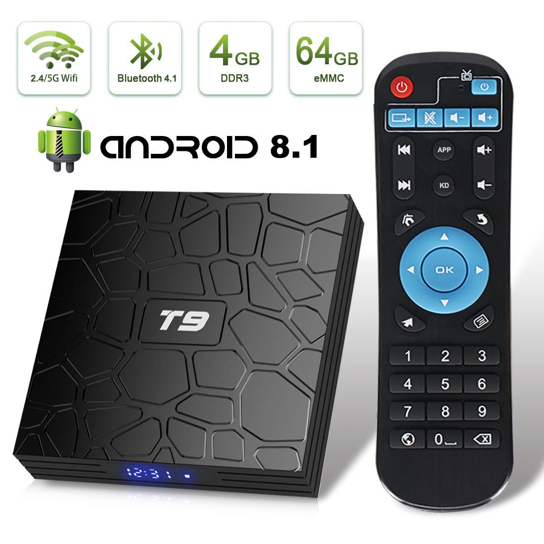 T9 Android 8.1 TV Box 4GB DDR3 RAM 64GB ROM RK3328 Bluetooth 4.1 Quad-Core Cortex-A53 64 Bits Support 2.4/5.0GHz WiFi 4K 3D Ultra HD HDMI H.265 by EVER EXPRESS