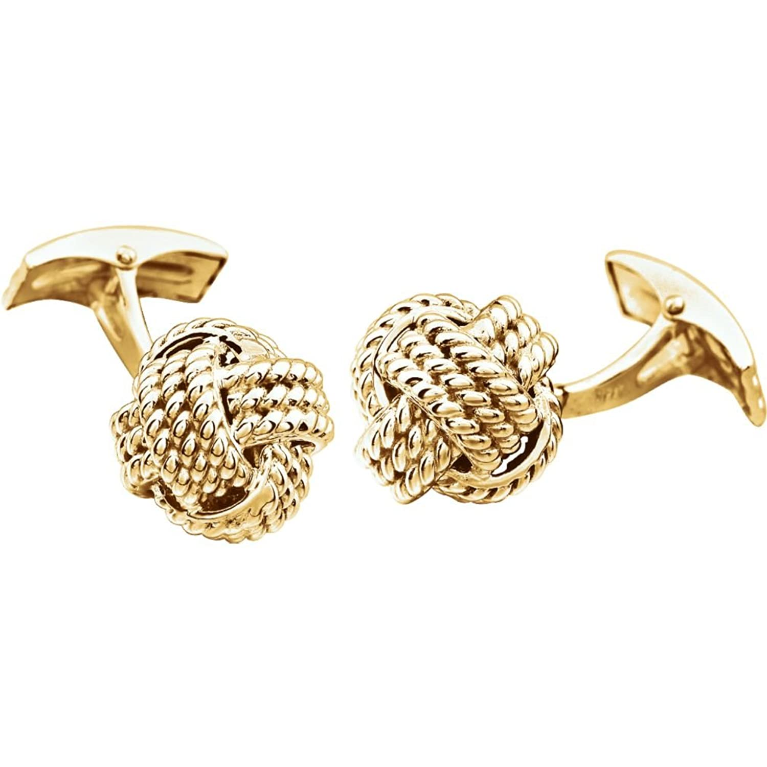 Rope Trim Love Knot 14k Yellow Gold Cuff Links, 15MM