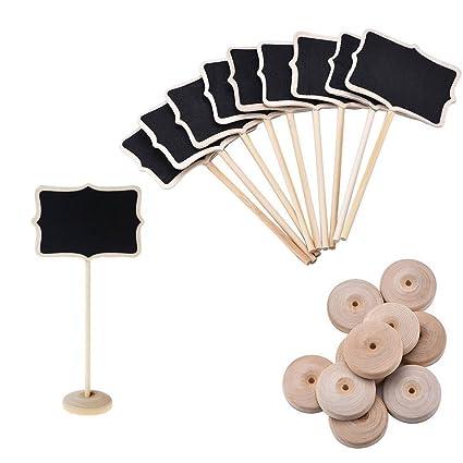 10 x Winstory Pack Mini pizarra con función atril boda etiquetas para soporte para tarjetas y fotografías
