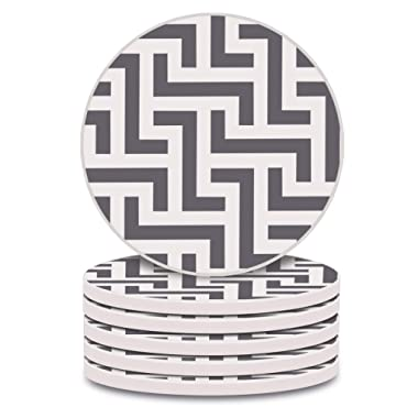 Absorbent Coasters Set of 6 Ceramic Grey Lines style with Cork Backing 4 inch Size Drinks Coasters for Mugs and Cups Protect Table from Scratches and a Liquid Ring