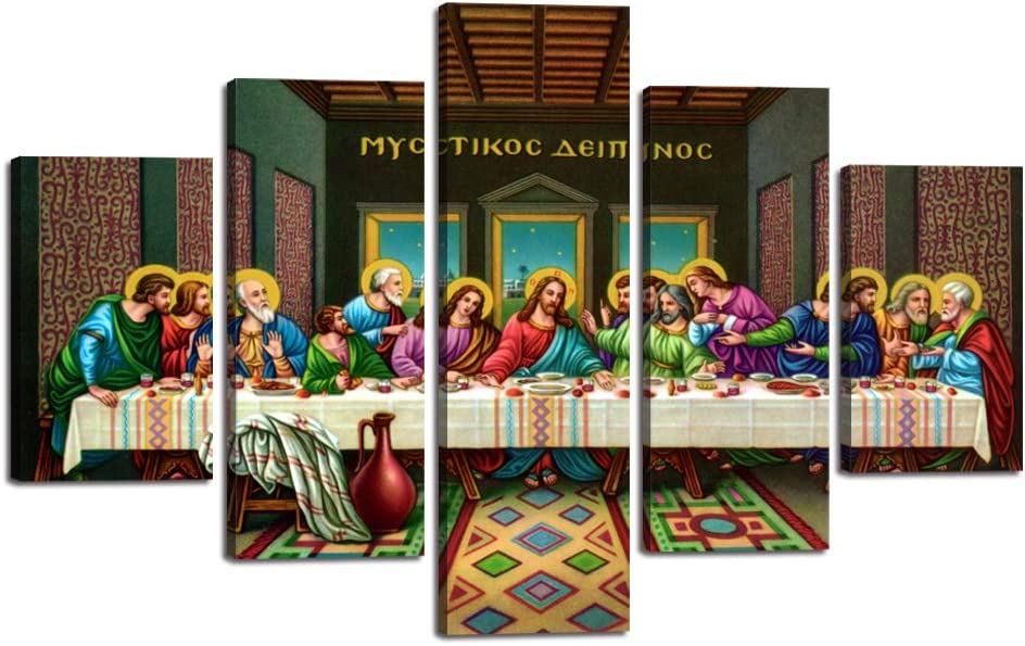 Black Last Supper Oil Painting Franed Large Jesus Wall Pictures for Living Room Canvas Print Renaissance Modern Painting 5 Panel Posters and Prints Giclee Artwork Stretched Ready To Hang(60''Wx40''H)