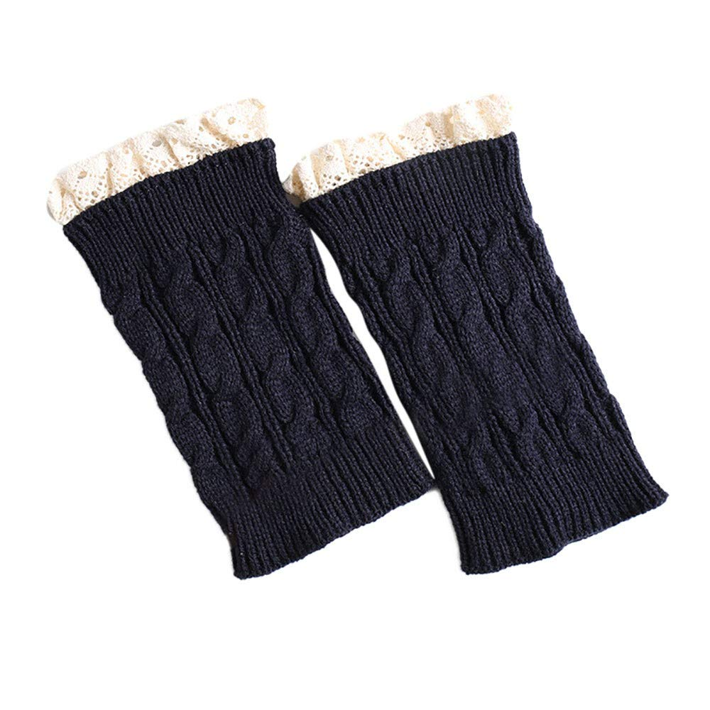 Women's Boot Knit Cuffs Socks Clearance- Short Crochet Leg Warmers - Iuhan Women Winter Warm Knit Leg Warmers Crochet Leggings Slouch Boot Socks Velvet (C-Navy)