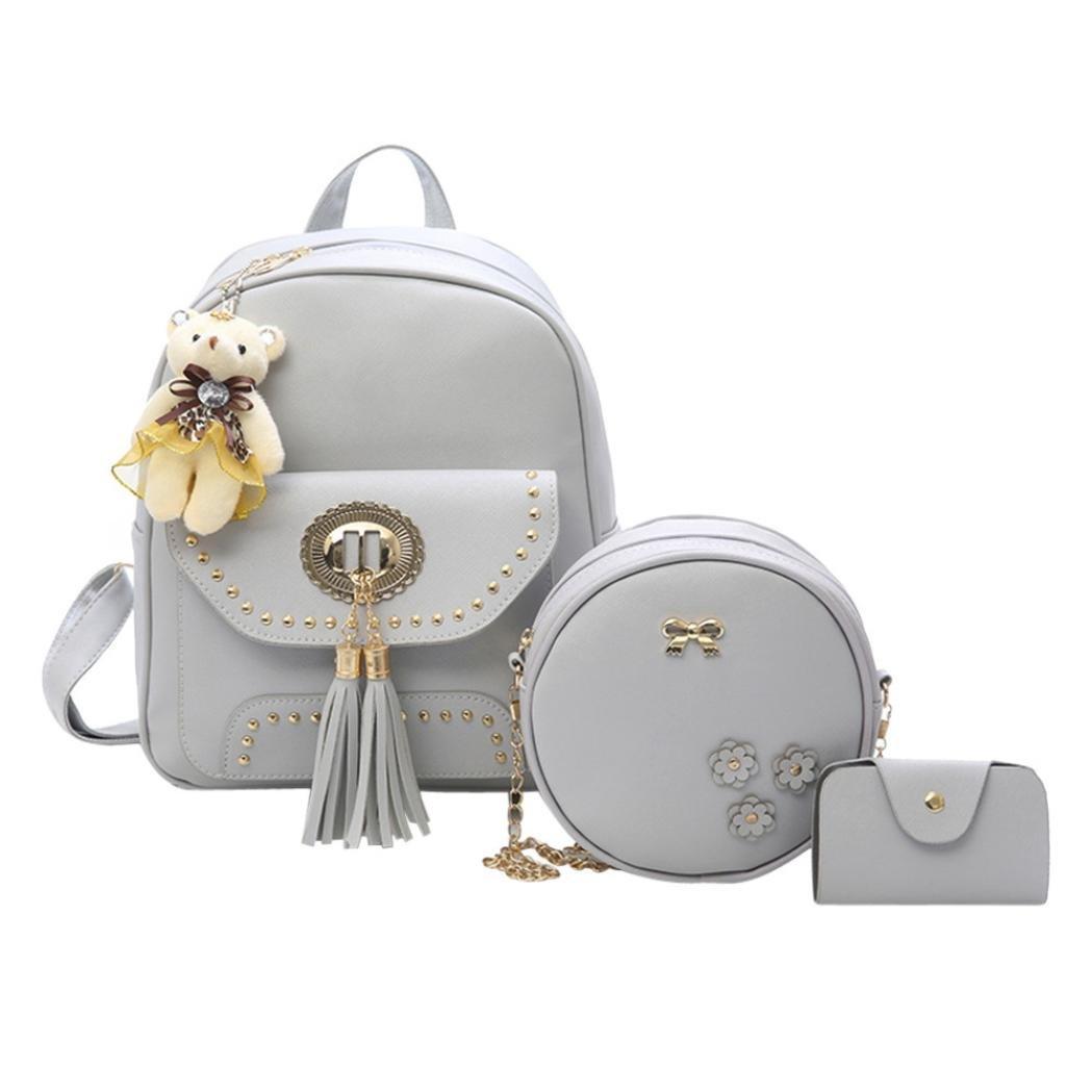 School Bags For Girls, Brezeh 3 Sets Womens Girls Cute School Backpack Leather Tassel Travel Shoulder Bag Handbag Purse Bag (Gray) Brezeh Bag