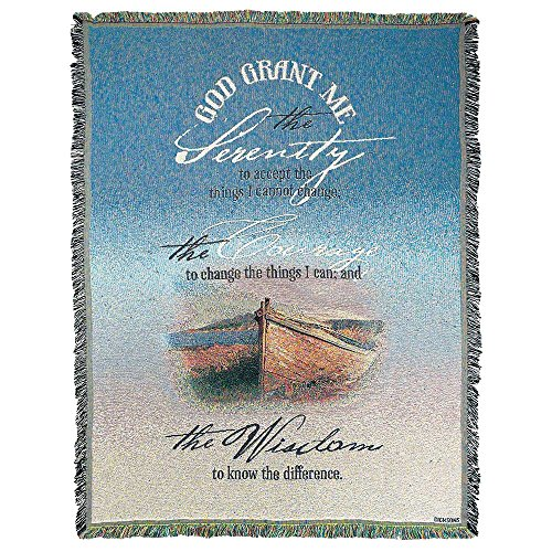 Serenity Prayer Fishing Boat 52 x 68 All Cotton Tapestry Throw Blanket (Tapestry Prayer)