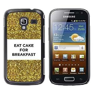 YOYOYO Smartphone Protección Defender Duro Negro Funda Imagen Diseño Carcasa Tapa Case Skin Cover Para Samsung Galaxy Ace 2 I8160 Ace II X S7560M - pastel de desayuno divertido Bling del brillo del oro