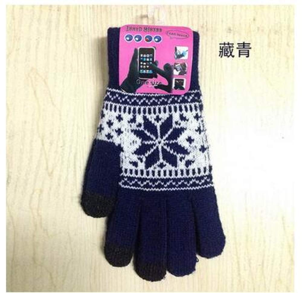 Smart gloves Winter warm touch screen gloves men and women wool knit gloves candy color snowflake gloves,Navy Blue