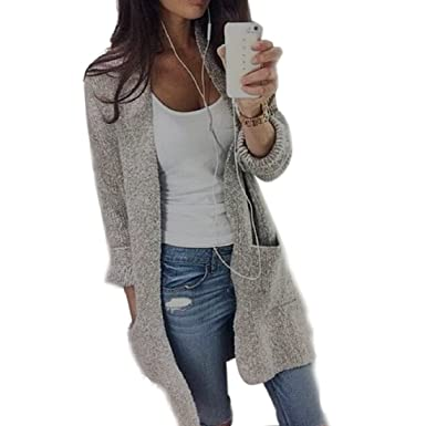 PHOTNO Casual long knit coat jacket cardigan sweaters for women ...