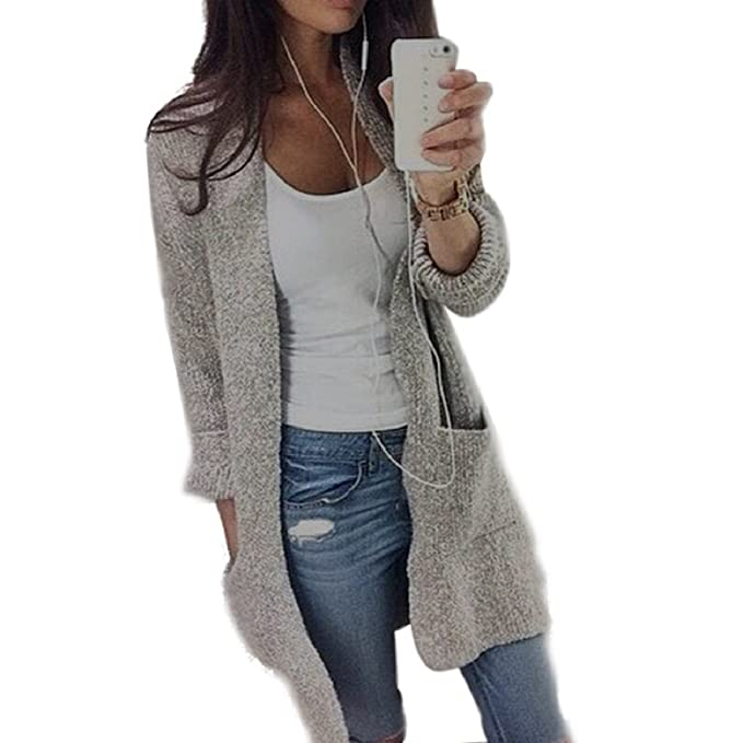PHOTNO Casual long knit coat jacket cardigan sweaters for women Lady (S,  Gray)