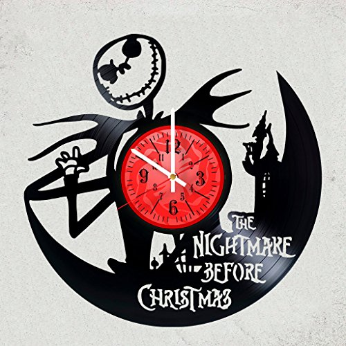 The Nightmare Before Christmas Vinyl Wall Clock - Nice gift idea for girlfriend,boyfriend,Him or Her - Get unique gifts for bedroom,garage decoration -Monsters Oogie Boogie JACK & SALLY LOVE Halloween -