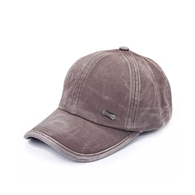 dark brown leather baseball cap hat uk vintage adjustable cotton men solid