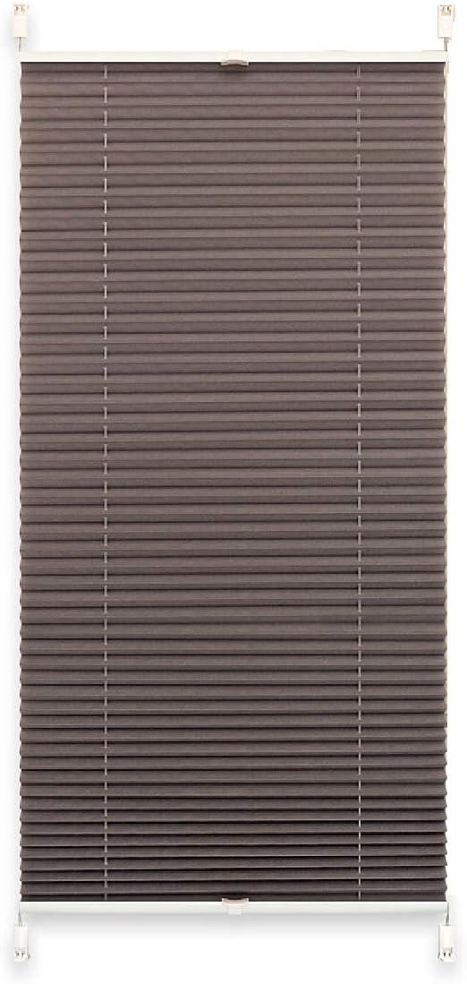 Tissu 50 x 140 cm argent/é Exklusiv-Heimtextil Store pliss/é avec Supports sans per/çage Pliable Store de Fen/être Marque