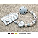 kleinerStorch Baby Schnullerkette mit Wunschnamen - Jungen Motiv Herz babyblau