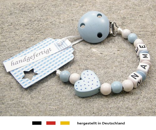 Personalised Baby DUMMY CLIP | Pacifier Holder with preffered name – boys motif blue heart | Beststeller from Germany kleinerStorch