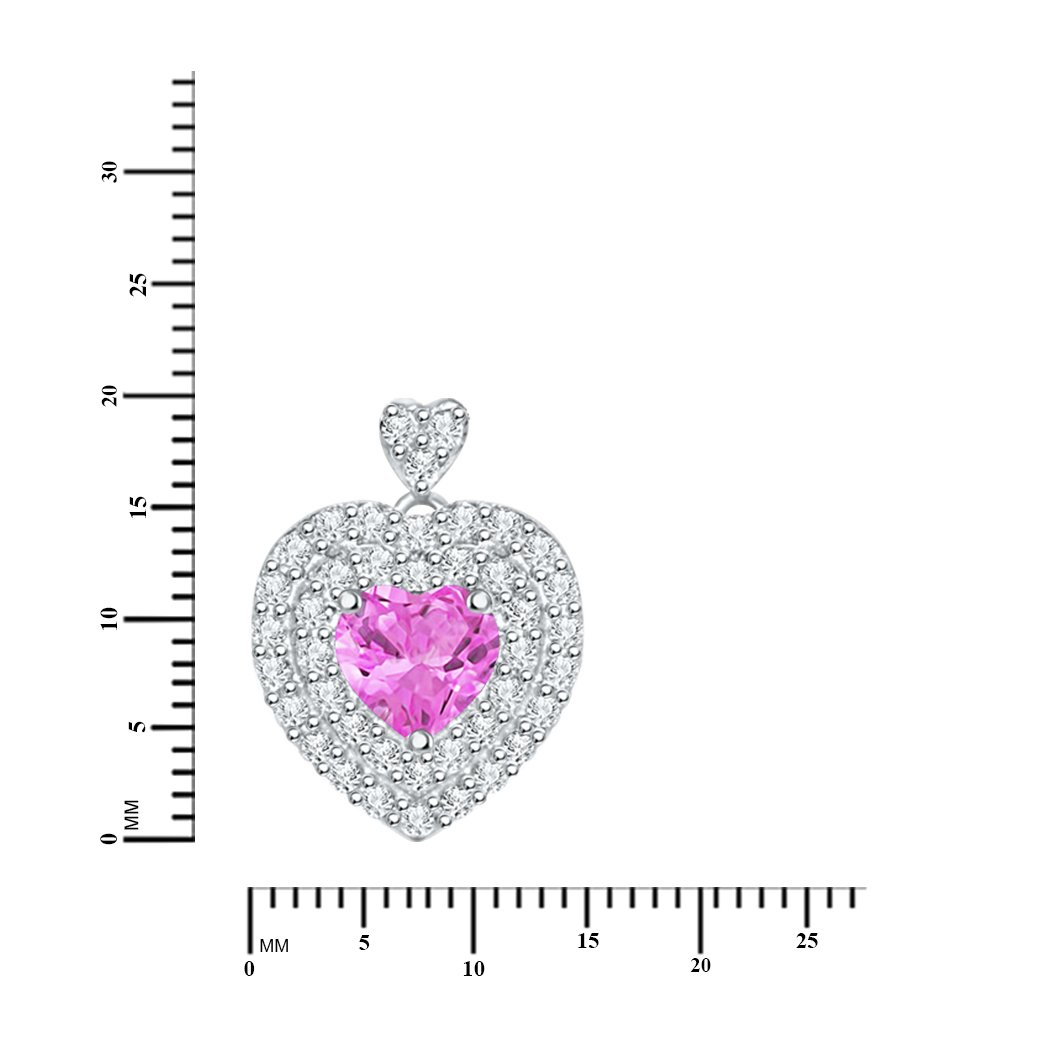 Diamond Scotch Valentines Day 14k White Gold Over 1.27 Ct Double Halo Heart Pendant Necklace with 18 inches Chain