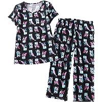 4ea567311fb PNAEONG Women s Pajama Sets Capri Pants with Short Tops Cotton Sleepwear  Ladies Sleep Sets