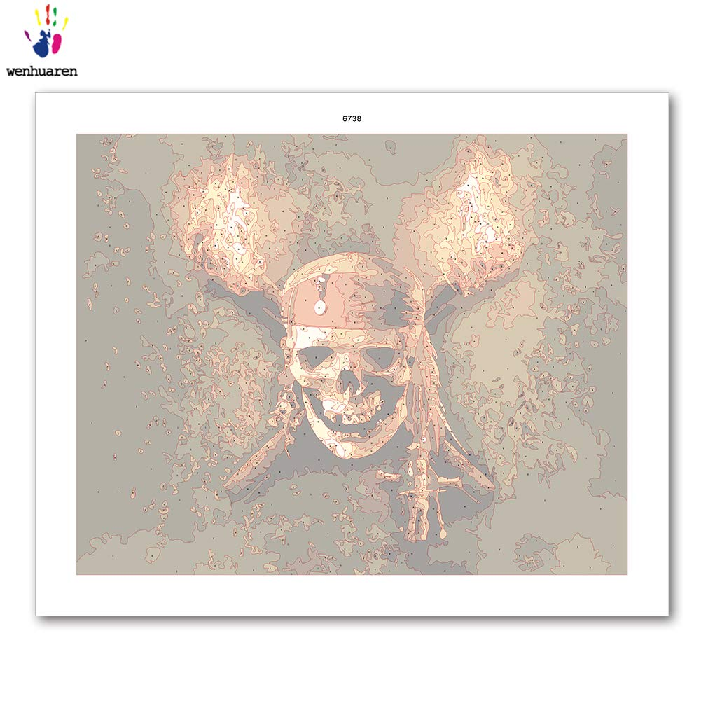 Paint by Number Kits Canvas DIY Oil Painting for Kids 5746, 16x20 with Frame Students Adults Beginner with Brushes and Acrylic Pigment -Pirate Captain of The Caribbean with The Skull Sign