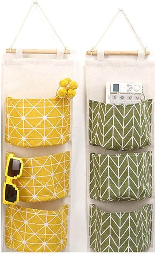 MUXItrade /Étag/ère Mural en tissu Panier Pochette de Rangement avec 3 Poches Sacs Organisateur Pour Chambre Salle de Bain Cuisine 2 Pcs Sac de Rangement Suspendu