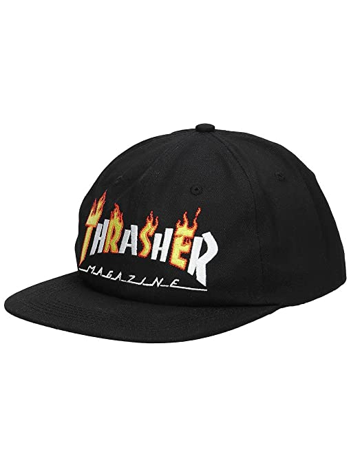 8a30c5f2851 Image Unavailable. Image not available for. Color  Thrasher Flame Mag  Snapback Hat Black