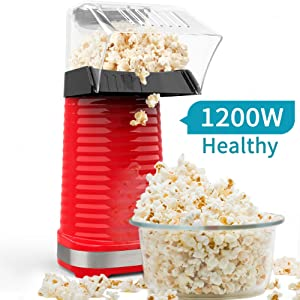 Be1 Electric Hot Air Popcorn Popper Maker for Home Party Kids, No Oil Needed, High Efficiency, Healthy Snack and Less Calories, DIY Your Own Taste-Red