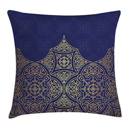 MedieMo Indigo Throw Pillow Cushion Cover, Middle Eastern Style Ornament Ottoman Moroccan Cultures Inspired Filigree Pattern, Decorative Square Accent Pillow Case, 18X18 Inches, Gold Indigo