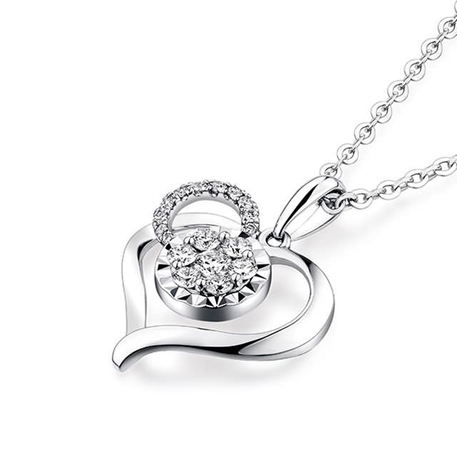 Beydodo Women Necklace,18k Real White Gold 1.06g Heart Convergence of Love Round Diamond Necklace by  (Image #2)