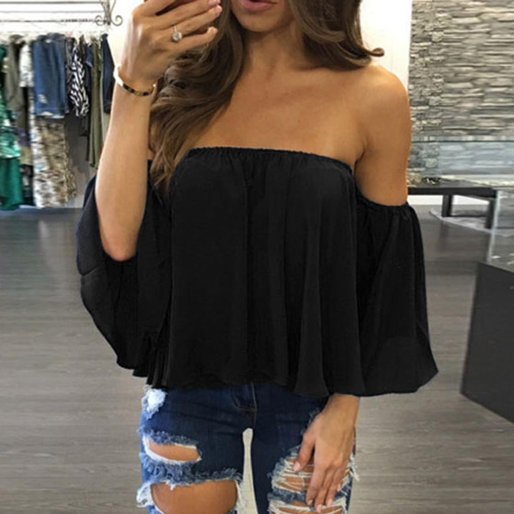 Amazon.com: DondPO 2018 Fashion Sexy Women Off Shoulder Tops Pullover Summer Chiffon Blouse White Casual Crochet Chiffon Shirt Sexy WomensT Shirt Tops Tee: ...