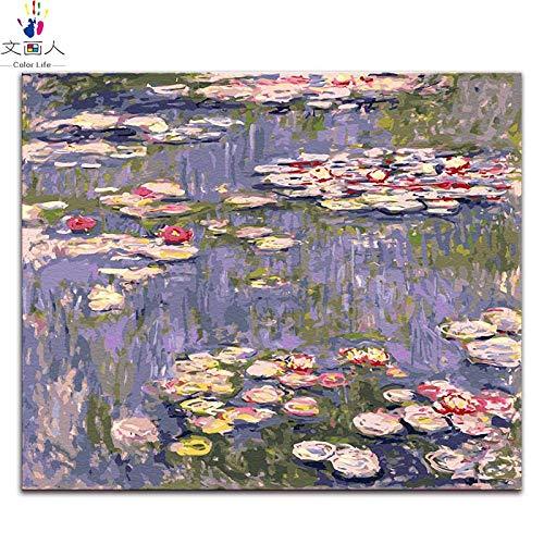 50x40 no frame 2015 water lily 6 KYKDY Les Nymphéas peintures peintures par numéros Claude Monet dessin numérique peinture à Couleurier peinture par numéros avec kit, 2263 jardin 1,90x70 sans cadre