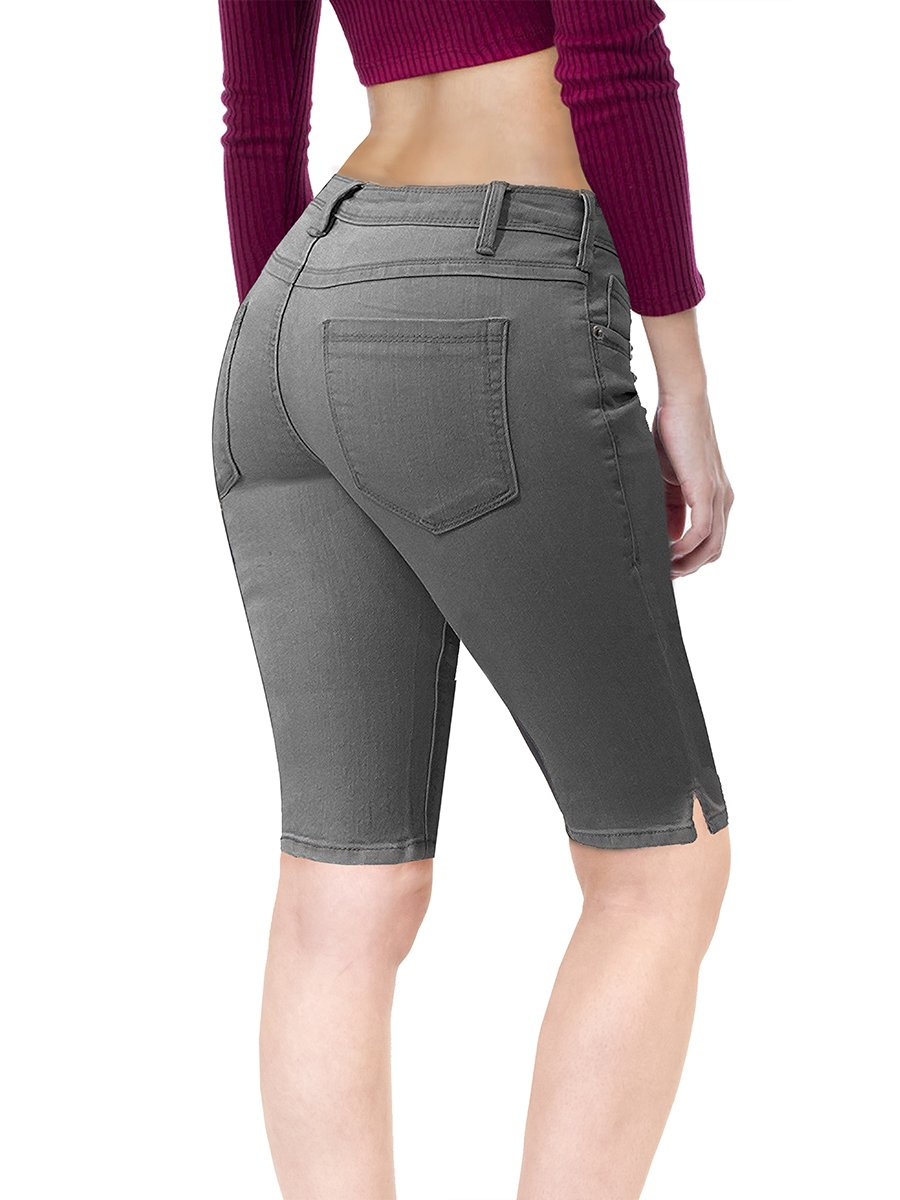 HyBrid & Company Women's Stretchy Denim Bermuda Short B22882X Grey 16