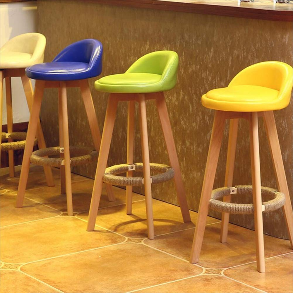 A-yellow Dining Chairs Seat Chair Solid Wood redating High Stool Continental Vintage Bar Counter (Unit Price, 2 from The Sale) FENPING (color   C-ash)