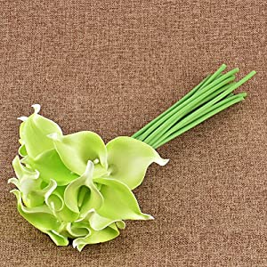 Wuudi 20pcs Calla Lily Bridal Wedding Bouquet head Latex Real Touch Flower Bouquets 5